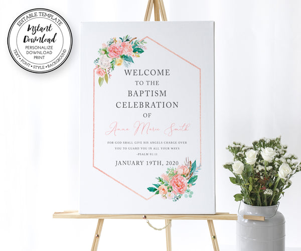 Pink Floral Baptism Welcome Sign, First Communion Welcome Sign, Instant Download, Editable Template