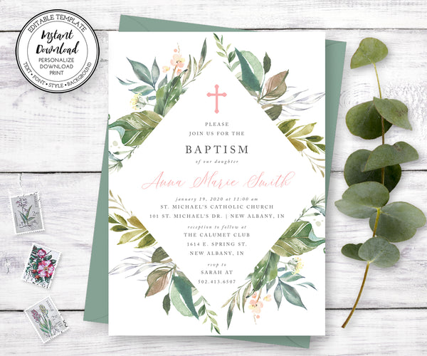 Greenery Baptism Invitation Template, Gender Neutral Baptism Invitation, Instant Download, Editable Template