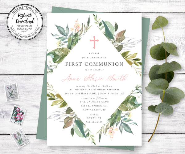 Gender Neutral First Communion Invitation, Watercolor Greenery, Instant Download, Editable Template