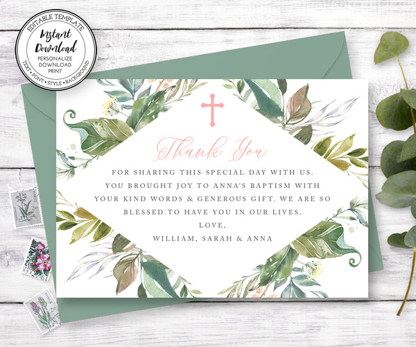 Gender Neutral Baptism Thank You Card, Greenery First Communion Thank You Notecard, Editable Template, Instant Download