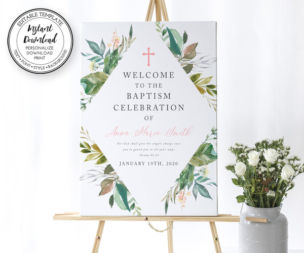 Gender Neutral Baptism Welcome Sign, First Communion Welcome Sign, Greenery, Instant Download, Editable Template
