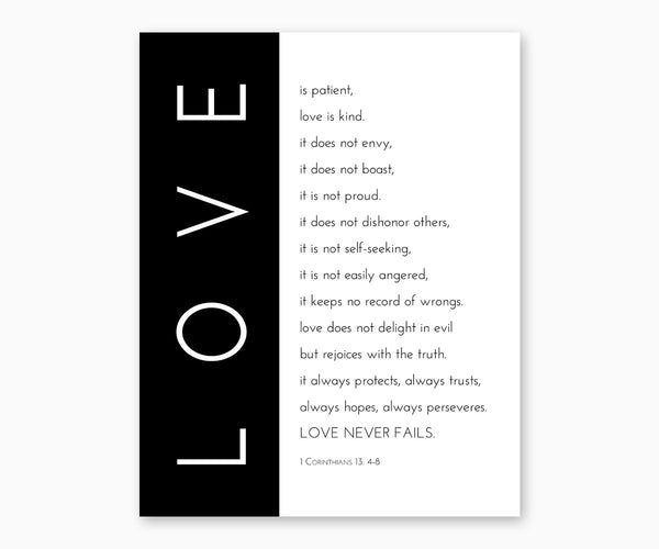Bible Verse Wall Art- 1 Corinthians 13: 4-8 Love Is Patient, Love is Kind, Black & White