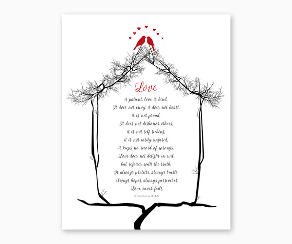 Bible Verse Wall Art, 1 Corinthians 13: 4-8, Red Love Birds