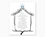 Bible Verse Wall Art, 1 Corinthians 13: 4-8, Blue Love Birds