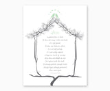 Bible Verse Wall Art, 1 Corinthians 13: 4-8, Soft Green Love Birds