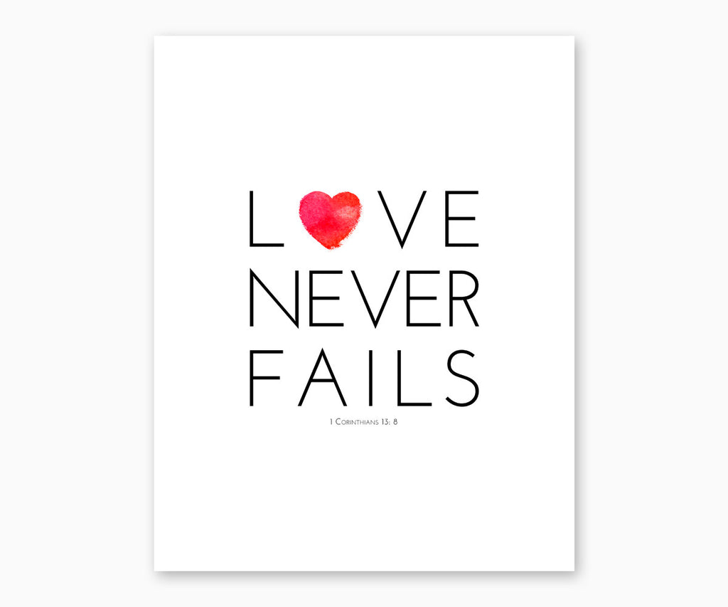 Love Never Fails 1 Corinthians 13 bible verse wall art