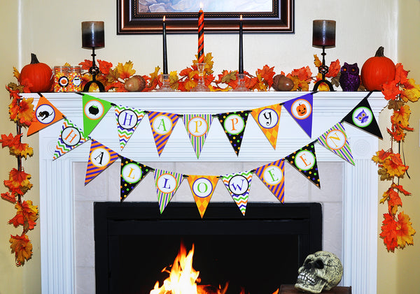 Halloween Banner Printable, Digital Instant Download Halloween Decorations