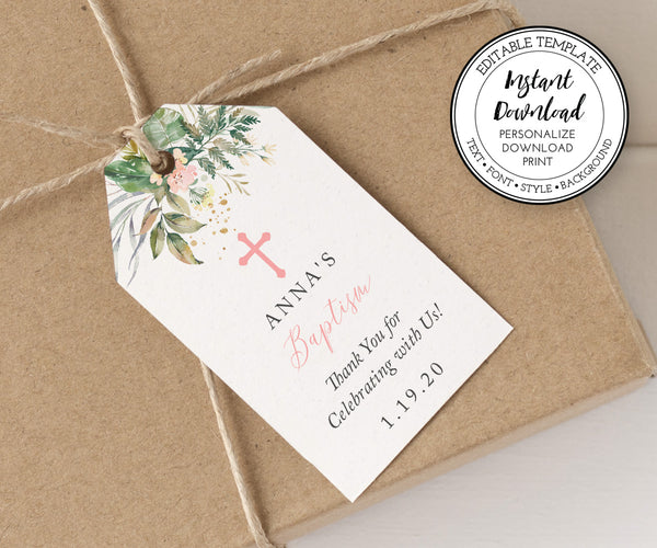 Greenery Favor Tag, First Communion or Baptism Gift Tags, Favor Labels, Favor Stickers, Vertical Editable Template