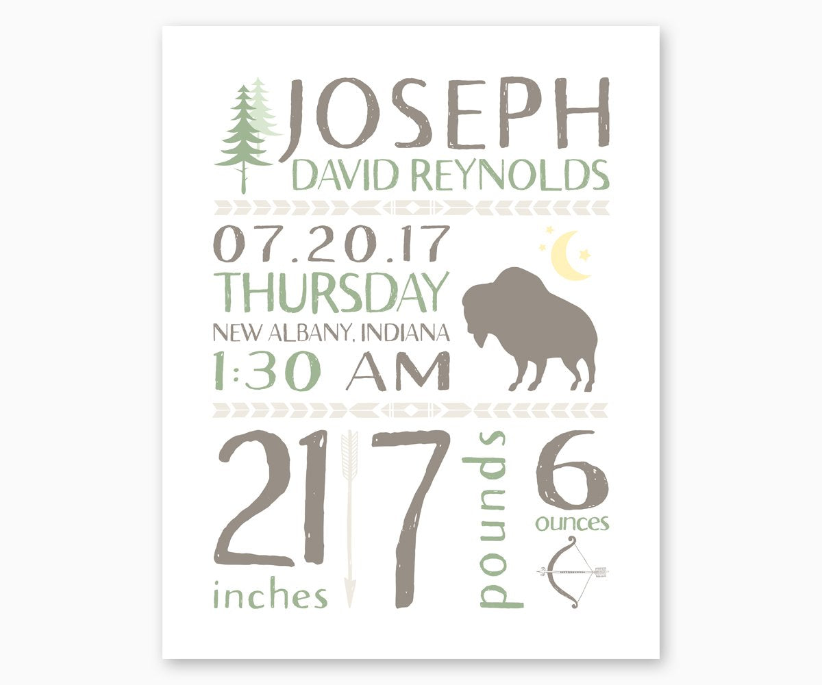 Tribal Birth Stats Nursery art with arrow and buffalo motifs in green and gray