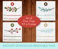 Christmas Gift Tag Printable, Square Christmas Gift Tags, Digital Gift tags