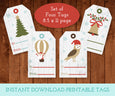 Printable Christmas Gift Tags, Vertical Christmas Tags, Printable Digital Christmas Gift Tags