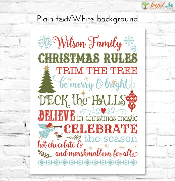 Christmas Rules Family Name Sign text on white background