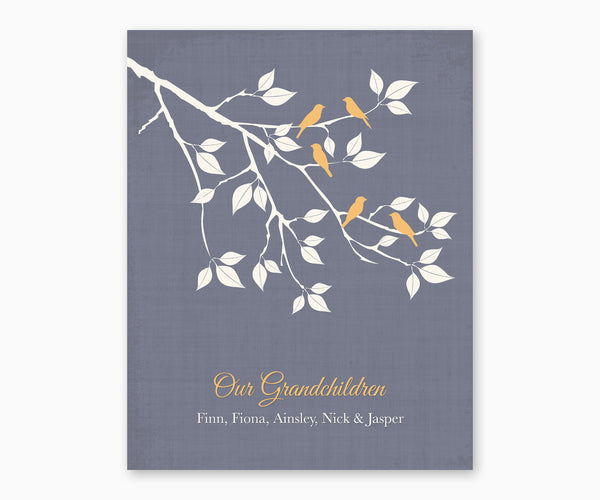 Our Grandchildren Birds on a Branch Wall Art, yellow type