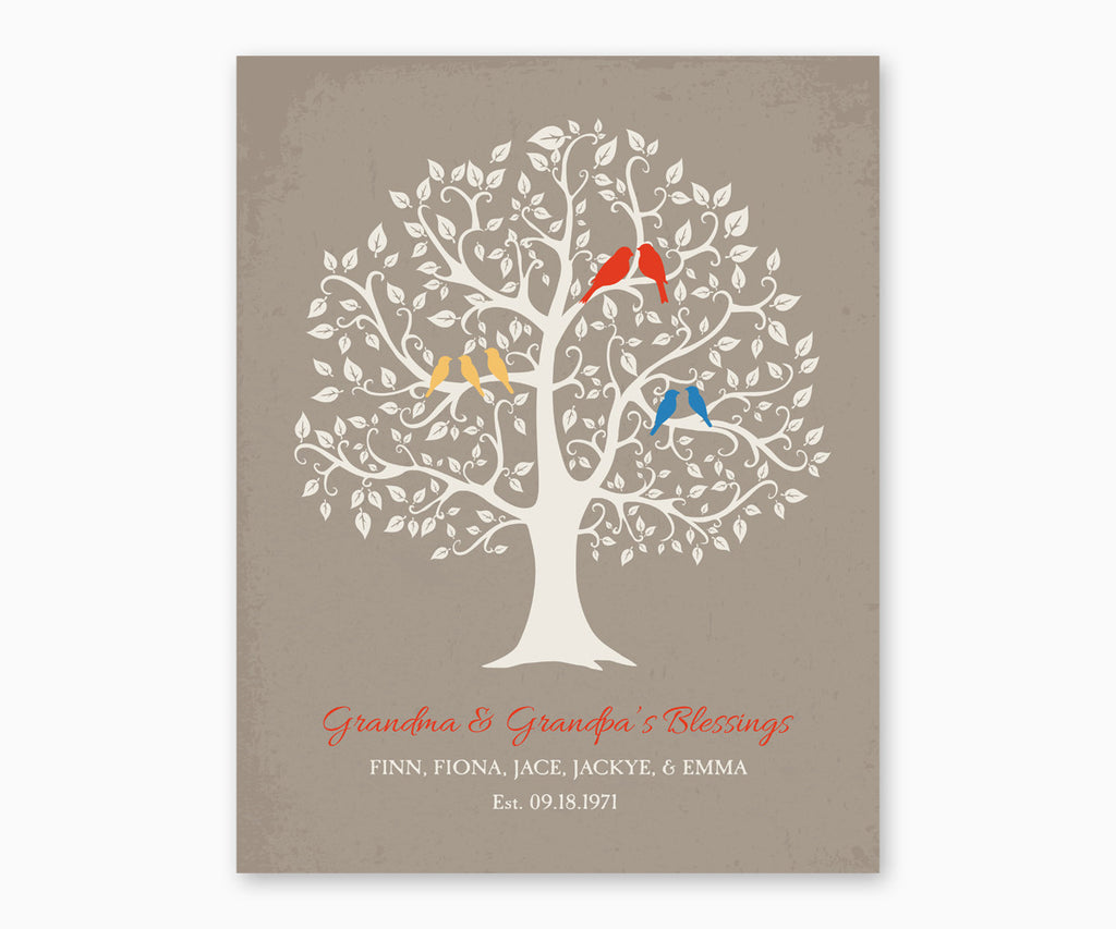 Grandma and Grandpa's Blessing, Grandchildren Family Tree Wall Art, red type