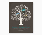 Grandma and Grandpa's Blessing, Grandchildren Family Tree Wall Art, turquoise type