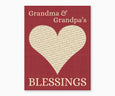 Grandma and Grandpa's Blessings, Heart Wall Art, red
