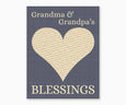 Grandma and Grandpa's Blessings, Heart Wall Art, blue