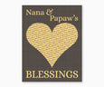 Nan and Papaw's Blessings, Heart Wall Art, dark gray