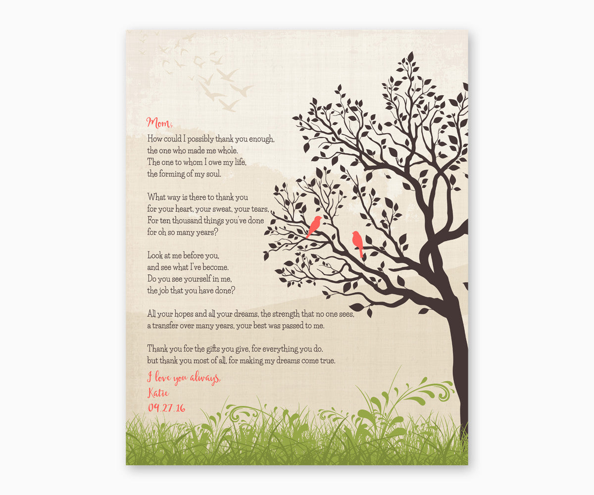 Gift for Mom, Poem for Mom Wall Art, Coral colors