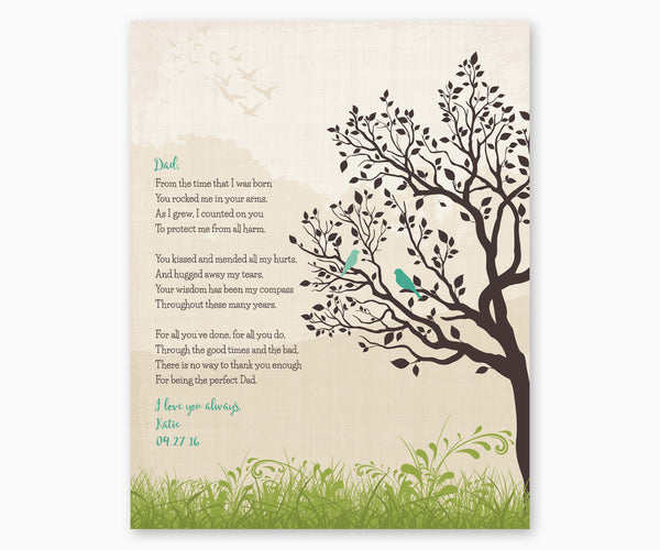 Gift for Dad, Poem for Dad Wall Art, Green
