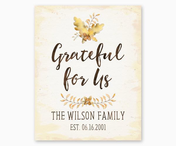 Grateful for Us Family Name Wall Art Personalized