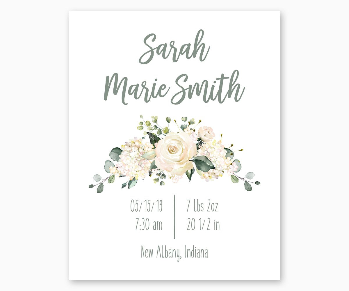 Watercolor Floral Birth Stats Nursery Print with white roses