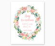 Pink Yellow Green Floral Wreath Nursery Birth Stats Print