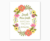 Pink yellow green floral wreath birth stats nursery art