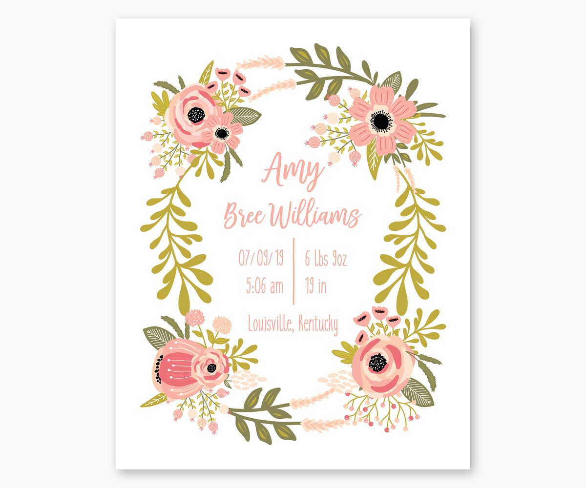 Floral Wreath Nursery Birth Stats Print in Pink and Green