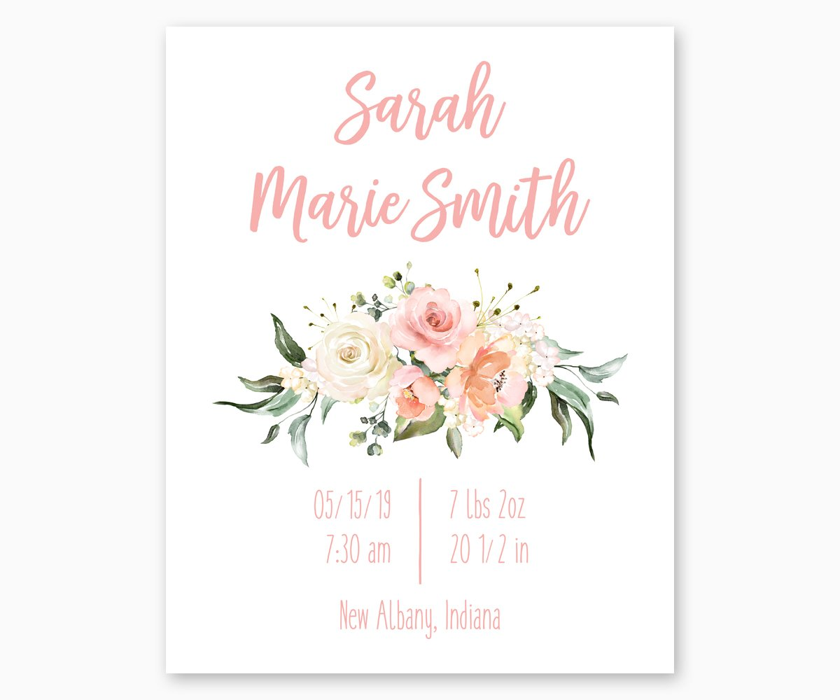 Floral Watercolor Nursery Birth Stats Print in Pink White and Green