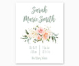 Floral Nursery Birth Stats Print, Boho Nursery in Pink, White and Green