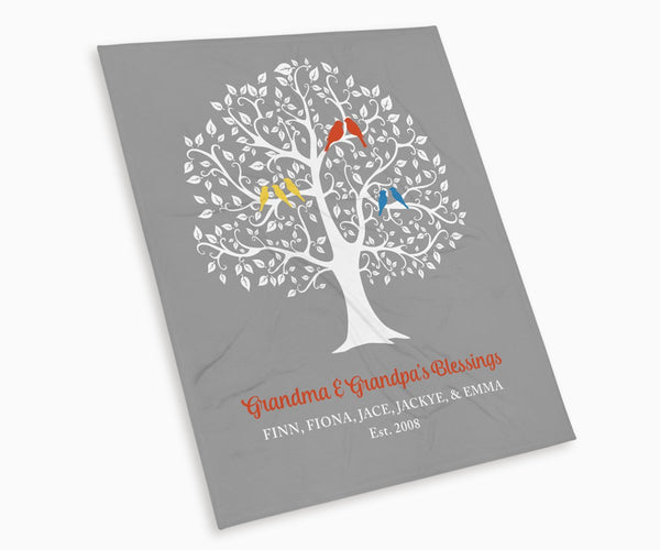 personalized family tree keepsake blanket gray, white, red