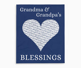 Grandma and Grandpas Blessings Keepsake Blanket with Grandchildrens Names in dark blue