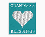 Grandma's Blessings Keepsake Blanket with Grandchildrens Names in teal