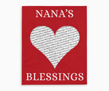 Nana's Blessings Keepsake Blanket with Grandchildrens Names in red