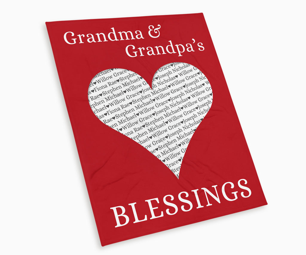 Grandma and Grandpas Blessings Keepsake Blanket in red