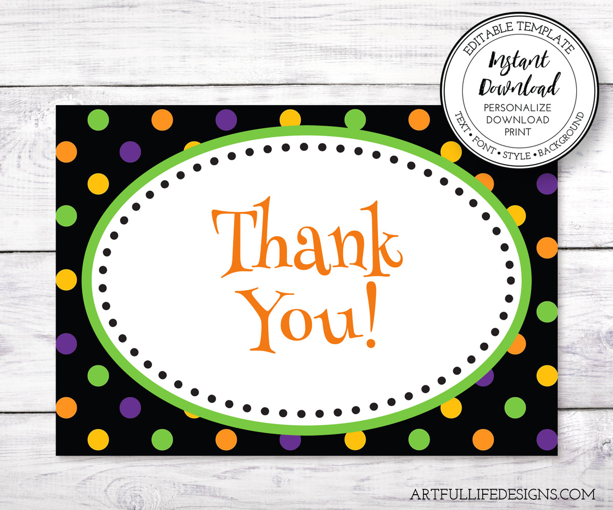 Artful Life Designs Halloween thank you card template