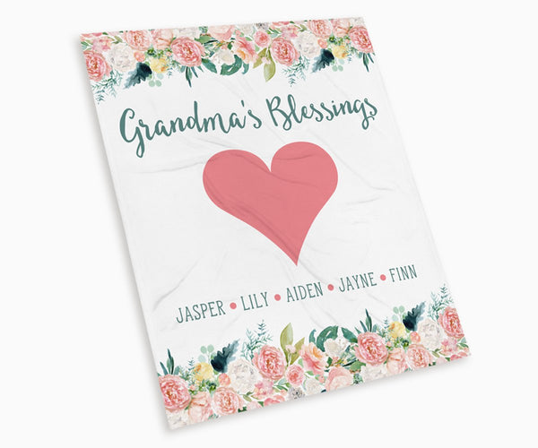 Grandma's Blessing Personalized Blanket with grandkids names