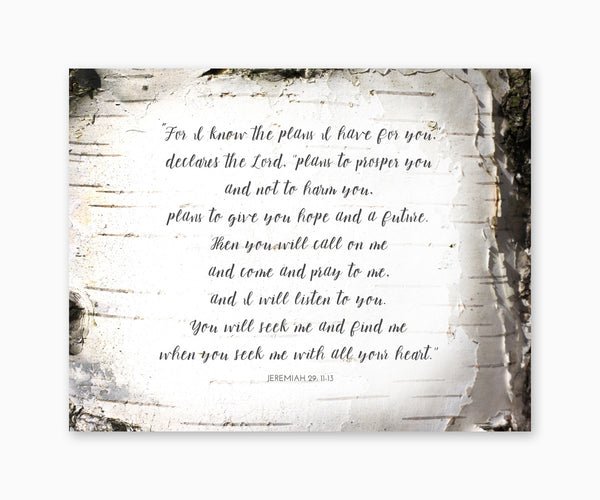 Jeremiah 29: 11-13 For I Know The Plans, Bible Verse Wall Art, Woodland