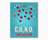 Caffeine Molecule Kitchen Wall Art Blue background