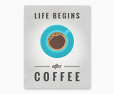 Life Begins After Coffee Kitchen Wall Art Gray