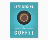 Life Begins After Coffee Kitchen Wall Art Blue