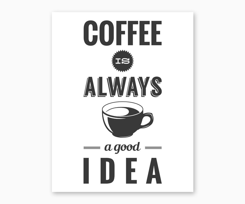 Coffee is Always a Good Idea Kitchen Wall Art, White Background