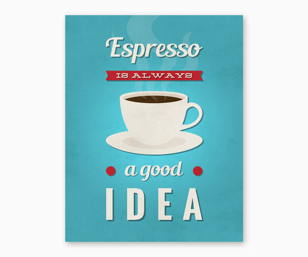 Espresso is Always a Good Idea Retro Kitchen Wall Art Blue