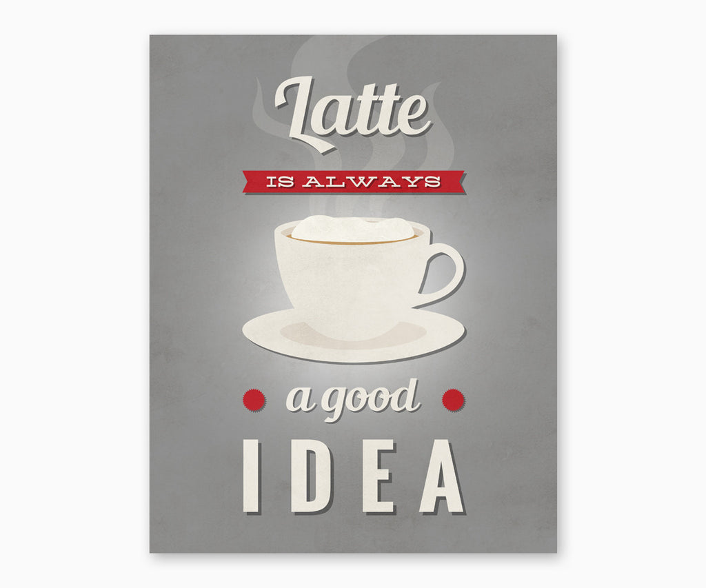 Latte is Always a Good Idea Retro Kitchen Wall Art Gray
