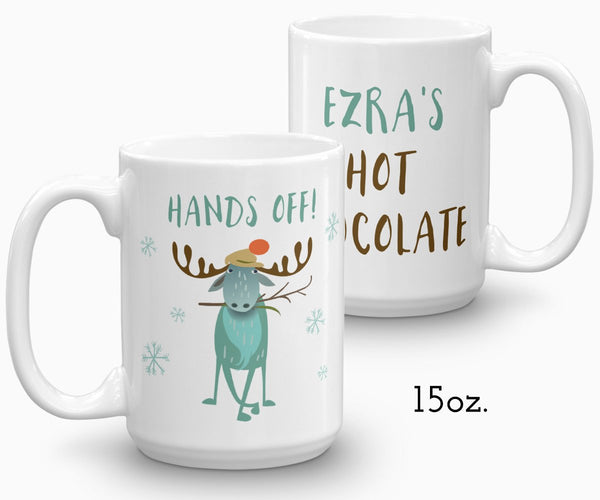 Personalized hot chocolate mug, moose holiday mug 15 oz