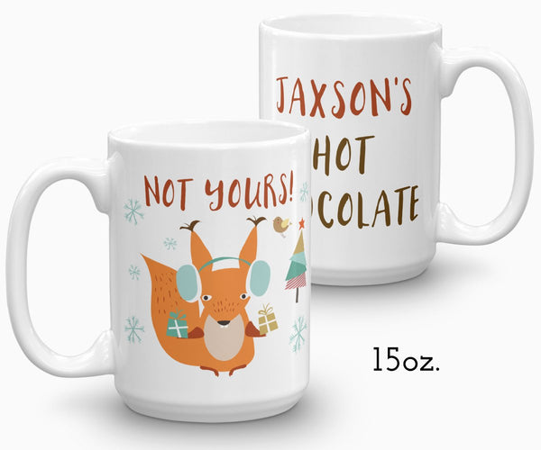 Personalized Hot Chocolate Mug, Squirrel Holiday Ceramic Mug 15 oz