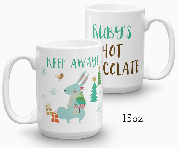 Personalized hot chocolate mug, rabbit holiday mug, 15 oz