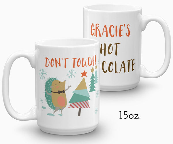 Personalized Hot Chocolate Mug Hedgehog Holiday Mug 15 ounce