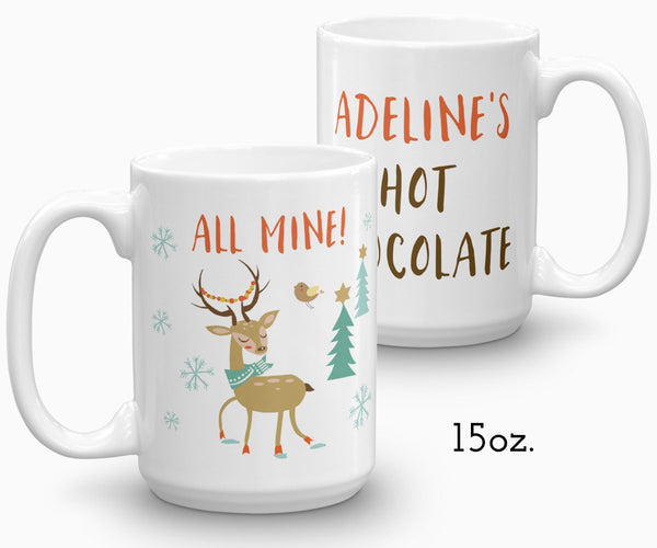 Reindeer hot chocolate mug, personalized holiday mug 15 oz
